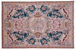 6×9 Aubusson Oriental Green Fine Needlepoint Weave Rug