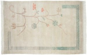 6×9 Vintage Tibetan Oriental Green Hand-Knotted Rug