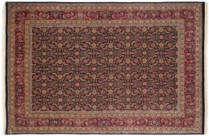 6×9 Herati Oriental Black Hand-Knotted Rug