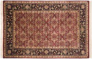 6×9 Herati Oriental Burgundy Hand-Knotted Rug