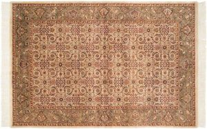 6×9 Herati Oriental Ivory Hand-Knotted Rug