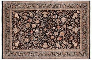 6×9 Isfahan Oriental Black Hand-Knotted Rug