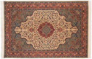 6×9 Isfahan Oriental Ivory Hand-Knotted Rug