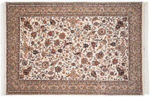 6×9 Vintage Isfahan Oriental Ivory Hand-Knotted Rug
