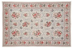 6×9 Floral Bouquet Oriental Ivory Fine Needlepoint Weave Rug