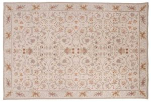 6×9 Floral Oriental Ivory Fine Needlepoint Weave Rug