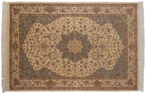 6×9 Vintage Tabriz Oriental Ivory Hand-Knotted Rug