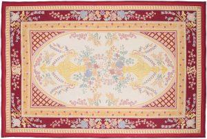 6×9 Vintage Vase Oriental Ivory Fine Needlepoint Weave Rug