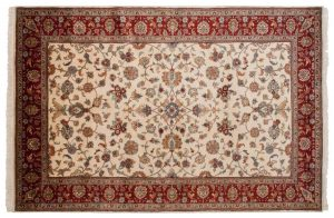 6×9 Vintage Mahal Oriental Ivory Hand-Knotted Rug