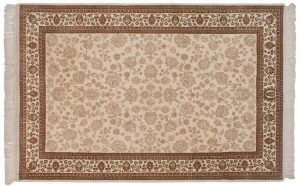 6×9 Vintage Tracery Oriental Ivory Hand-Knotted Rug
