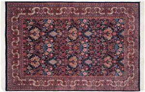 6×9 Vintage Kashan Oriental Blue Hand-Knotted Rug