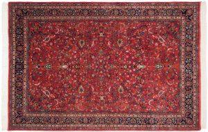 6×9 Vintage Kashan Oriental Red Hand-Knotted Rug
