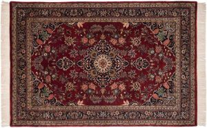 6×9 Kashan Oriental Red Hand-Knotted Rug