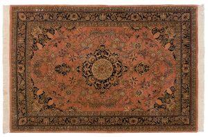 6×9 Vintage Kashan Oriental Rose Hand-Knotted Rug
