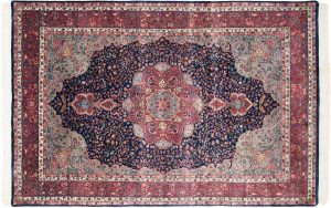 6×9 Vintage Kerman Oriental Blue Hand-Knotted Rug