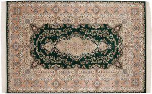 6×9 Vintage Kerman Oriental Green Hand-Knotted Rug