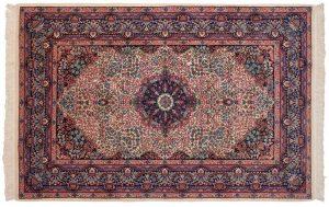 6×9 Vintage Kerman Oriental Ivory Hand-Knotted Rug