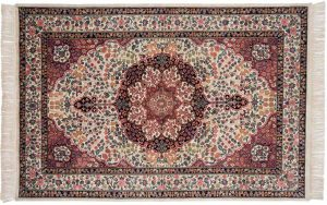 6×9 Kerman Oriental Ivory Hand-Knotted Rug