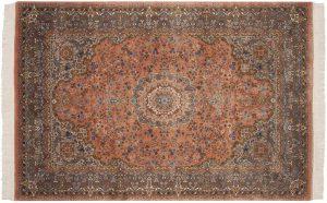 6×9 Vintage Kerman Oriental Rose Hand-Knotted Rug