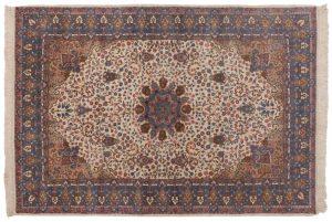 6×9 Vintage Mashad Oriental Ivory Hand-Knotted Rug