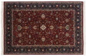 6×9 Meshed Oriental Burgundy Hand-Knotted Rug