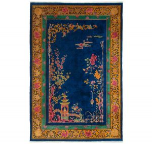 6×9 Semi-Antique Nichols Oriental Blue Hand-Knotted Rug