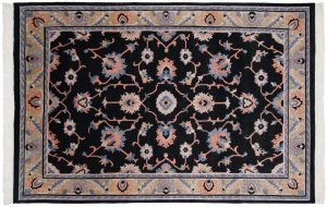 6×9 Oushak Oriental Black Hand-Knotted Rug