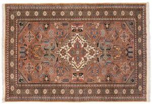 6×9 Vintage Persian Ardebil Oriental Brown Hand-Knotted Rug