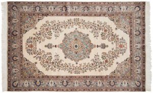 6×9 Vintage Persian Oriental Ivory Hand-Knotted Rug