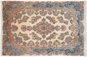 6×9 Persian Kerman Oriental Ivory Hand-Knotted Rug