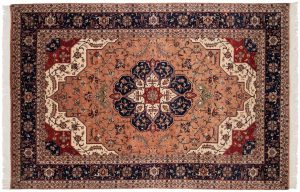 6×9 Vintage Persian Oriental Rose Hand-Knotted Rug