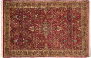6×9 Vintage Polonaise Oriental Red Hand-Knotted Rug