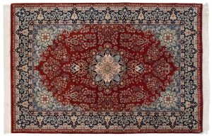 6×9 Vintage Kerman Oriental Red Hand-Knotted Rug