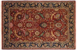 6×9 Isfahan Oriental Red Hand-Knotted Rug