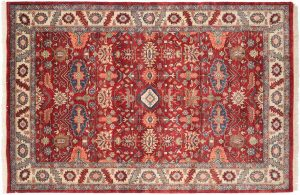 6×9 Heriz Oriental Red Hand-Knotted Rug