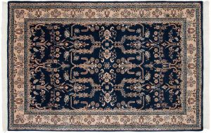 6×9 Vintage Sarouk Oriental Blue Hand-Knotted Rug