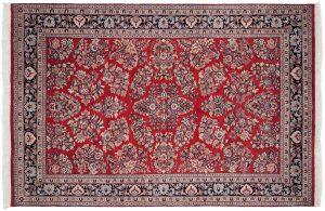6×9 Vintage Sarouk Oriental Red Hand-Knotted Rug