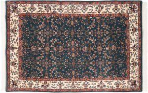 6×9 Vintage Sarouk Oriental Teal Hand-Knotted Rug