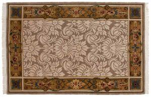 6×9 Vintage Savonnerie Oriental Beige Hand-Knotted Rug