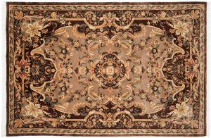 6×9 Savonnerie Oriental Mauve Hand-Knotted Rug