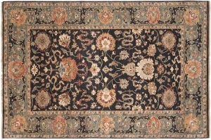 6×9 Sultanabad Oriental Black Hand-Knotted Rug