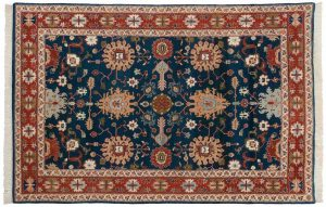 6×9 Vintage Sultanabad Oriental Blue Hand-Knotted Rug
