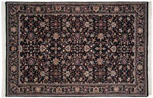 6×9 Vintage Tabriz Oriental Black Hand-Knotted Rug