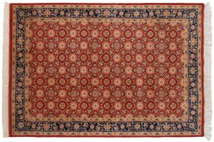 6×9 Vintage Veramin Oriental Red Hand-Knotted Rug