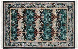 6×9 Voysey Oriental Black Hand-Knotted Rug