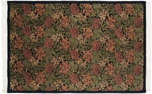 6×9 Vintage William Morris Oriental Black Hand-Knotted Rug