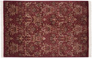 6×9 William Morris Oriental Burgundy Hand-Knotted Rug