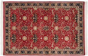 6×9 William Morris Oriental Red Hand-Knotted Rug