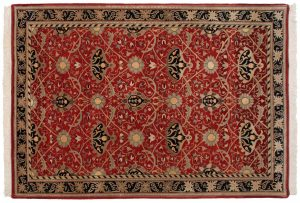 6×9 Vintage William Morris Oriental Red Hand-Knotted Rug