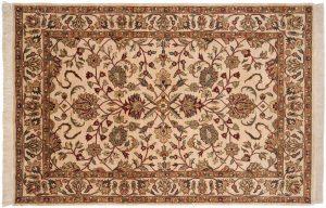 6×9 Yezd Oriental Beige Hand-Knotted Rug